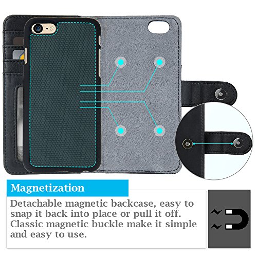 iPhone 7 Wallet Case,2 in 1 PU Leather Flip Cover + Removable PC Case with Double sided Card Slot Pocket Magnetic Lock For iphone 7(2016) -- Black Black