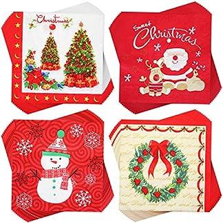 80 Piezas Servilletas de Navidad Servilletas de Cóctel Desechables Servilletas Decorativas de Papel para Suministros de Fiesta de Navidad de Té Almuerzo Festivo