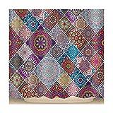 AieniD Badezimmer Deko Gelb Pop Muster Bunt Bad Vorhang Size:180X180CM