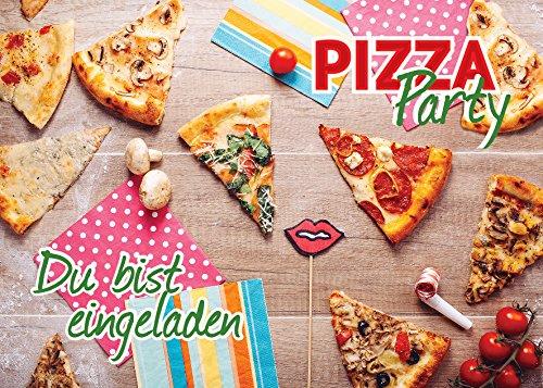 12 Einladungskarten zum Geburtstag /Pizza-Party/ Pizzaessen/ schöne und bunte Einladungen