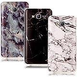 CLM-Tech 3in1 Accesorios Set: 3 x TPU Gel Silicona Funda Carcasa para Samsung Galaxy Grand Prime SM-G530FZ Tapa Case Mármol Patrón negro blanco colorido Cover