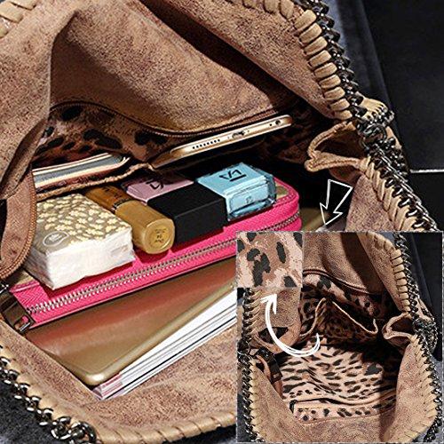 GWELL Damentasche Klassische Pu Leder Handtasche Umhängetasche mit Ketten lässig Beuteltasche beige schwarz-2