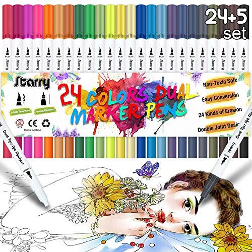 STARRY Filzstifte für Bullet Journal-[24Farben+5Schablonen] Dual Brush Pen Set, Pinselstifte, Malstifte, Kombimaler, Watercolor Effekte Aquarellpinsel für Manga, Kalligraphie, Bullet Journal Zubehör