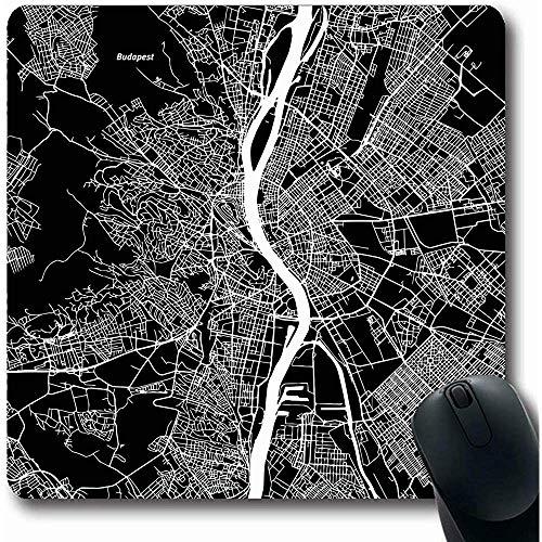 Mauspad Kartografie Stadtkarte von Budapest Kunstdruck Schwarz Landmass Detail Geografie Ungarn Street Atlas Avenue Mauspad Rutschfeste Gaming-Mousepads Computer 25X30cm