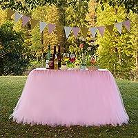Funda para mesa hecha a mano, de tul para mesa de boda, improvisación de boda, Navidad, fiesta de Año Nuevo, Día de San Valentín, baby shower, cumpleaños, decoración de fiesta para niñas, Tul, Rosa, 47 inch *32 inch