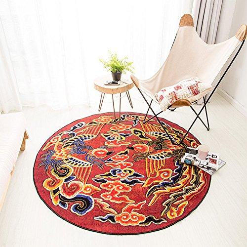Chinesische Teppich (WYYY Runder Teppich Haushalt Multifunktion Nylon Chinesischer Stil (Farbe : 1, größe : 150 * 150cm))
