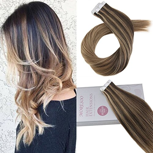 Moresoo 24pollice remy adesivo brasiliana nastro dei capelli balayage umani estensione #2 fading to #8 highlights with #8 extension adesive capelli veri 20pcs/50g