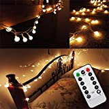10 Meters 80leds Fairy Lights Battery Powered Globe String Fairy Lights with Remote Timer Bedroom Outdoor Indoor Decoration Lights for Garden, Wedding, Party, Patio, Room (Warm White, Dimmable, IP65 Waterproof)