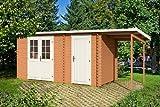 Gartenhaus GLORIA G 28 + 150 cm Schleppdach Blockhaus 445 x 200 cm Holzhaus 28mm