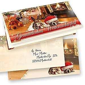Premium top qualit t weihnachtskarten klappkarten drollige hunde 10 sets kuverts gru karten - Weihnachtskarten amazon ...