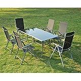 Outsunny - Set Mobili da Giardino in Alluminio 7pz Set Mobili da Pranzo Sedie Tavoli Pieghevoli per 6 Persone