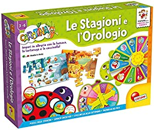 Lisciani - Juego Educativo Carotina Maxi (versión Italiana) Las Estaciones y el Reloj (Le Stagioni e l