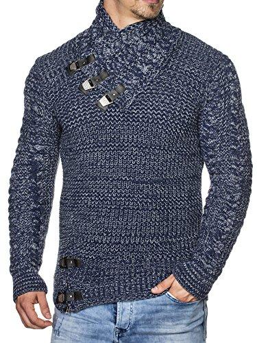 TAZZIO Herren Styler Grobstrick-Pullover 16477 Navyblau