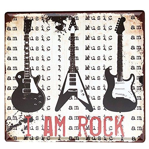 IPEKOO I Am Rock Metall Schild Blechschild Pub Metall Poster Distressed Retro Vintage Wand Metall blechschild