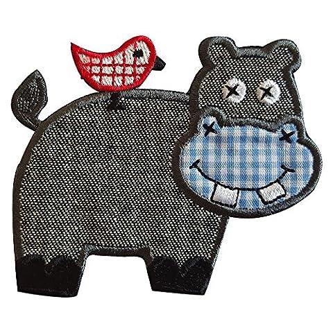 2 Ecussons patch appliques Hippopotame 9X7Cm Ovni 7X7Cm thermocollant brode broderie pour vetement jeans veste enfant bebe femme avec dessin TrickyBoo Zurich Suisse pour France