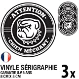 Lot de 3 autocollants / stickers Chien méchant