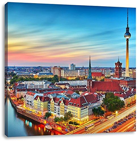 Berlin City Panorama, Format: 40x40 auf Leinwand, XXL riesige Bilder fertig gerahmt mit Keilrahmen, Kunstdruck auf Wandbild mit Rahmen, günstiger als Gemälde oder Ölbild, kein Poster oder Plakat