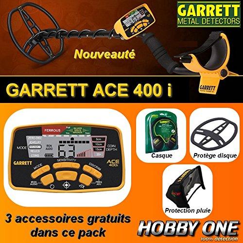 Garrett - Détecteur De Métaux Ace 400 i avec 3 Accessoires Inclus (casque audio, protège disque, protège pluie boîtier)