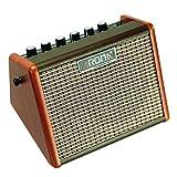 Aroma 15W Amplificador de guitarra eléctrica acústica portátil, Mini amplificador de altavoz de guitarra Bluetooth con batería incorporada e interfaz de micrófono (AG-15A)