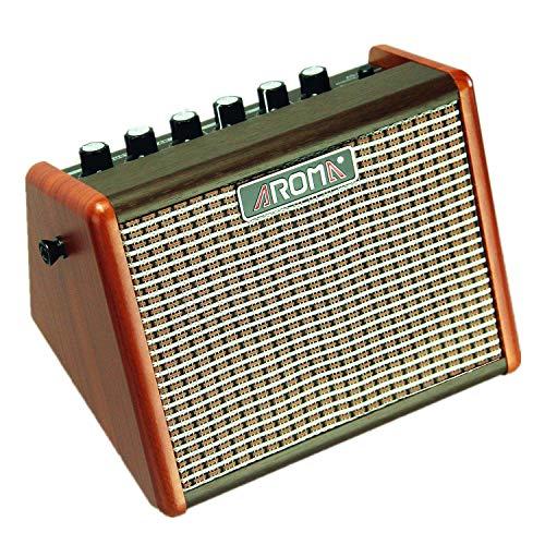 Aroma AG-15A Tragbarer Akustik-Gitarrenverstärker mit eingebautem Akku und Mikrofon-Schnittstelle (15 W)