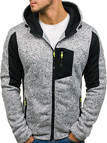 BOLF Herren Sweatshirt mit Kapuze Sweater Kapuzenpullover 1A1 Grau_AK48