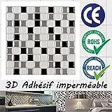 Ecoart 3D Autocollant Mural Imperméable Auto-adhésif en mosaïque pour la salle de bain et la cuisine Noir, gris et blanc 25.4 x 25.4cm Lot de 6
