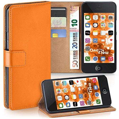 moex Apple iPhone 5S | Hülle Orange mit Karten-Fach 360° Book Klapp-Hülle Handytasche Kunst-Leder Handyhülle für iPhone 5/5S/SE Case Flip Cover Schutzhülle Tasche