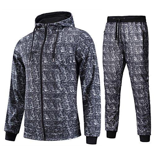 Workout Trainingsanzug Zip Up Camo Hoodies mit Jogger Hosen Set ()