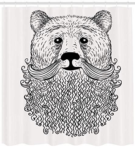 OuopBgbkkjn Indie Duschvorhang Doodle Stil Skizze Bär Porträt mit lockigem Bart und Schnurrbart Niedlich Cool Animal Stoff Badezimmer Dekor Set mit Schwarz Weiß