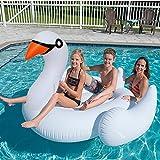 Cisne gigante flotador inflable de la piscina - Beby nueva serie 57in Cisne de gran tamaño flotador paseo en balsa Verano diversión piscina fiesta más larga para la familia Niños pequeños Adultos Mujeres Hombres
