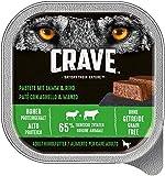 Crave Grainfree Getreidefreies Hundefutter Nassfutter Adult 1+ Mit Lamm und Rind in Pastete, 10 Schalen (10 x 300g)