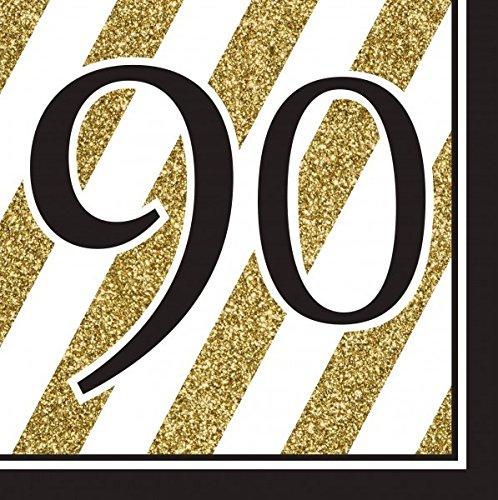 34 Teile Dekorations Set zum 90. Geburtstag oder Jubiläum – Party Deko in Schwarz & Gold - 2