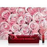 Fototapete 254x184 cm PREMIUM Wand Foto Tapete Wand Bild Papiertapete - Blumen Tapete Rosen Blumen Romantisch rosa - no. 2747