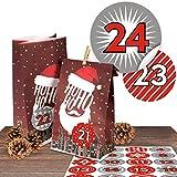 24 stylische Adventskalender Papiertüten Ho Ho Ho mit 24 modernen Zahlenaufklebern 'Duo Rot' zum...