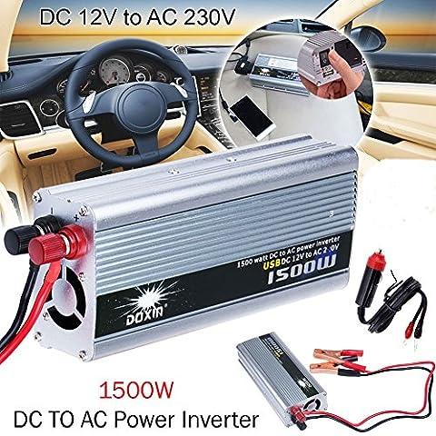 UNHO 1500W USB Car/Vehicle Power Inverter Charger Converter Adapter 12V DC to AC 240V Portable Car Truck Power Converter