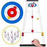Curling Game Shuffleboard Table, Miniature Gaming Board Games Tabletop Family Party Game with 8 Rollers 6 Bowling, Rolig peda