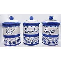Set 3 Barattoli Sale Zucchero Caffé Linea Fiori Blu Ceramica Le Ceramiche del Castello Handmade Pezzi Unici Made in…