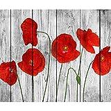 decomonkeyFototapete Blumen Mohnblumen Holz 350x256 cm XXL Design Tapete Fototapeten Vlies Tapeten Vliestapete Wandtapete moderne Wand Schlafzimmer Wohnzimmer FOB0008a73XL