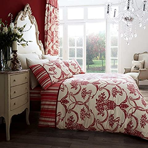 SELECT-ED® Luxuries RICHMOND Printed Poly Cotton Duvet Quilt Quilt Cover Set + Pillow Case Bedding Set (King Size, Cream / Red)
