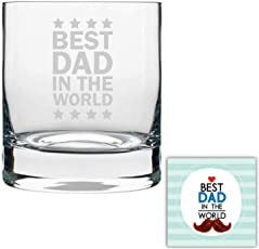 YaYa cafe Birthday Gifts for Father, Best dad in The World Whisky Glass for Dad