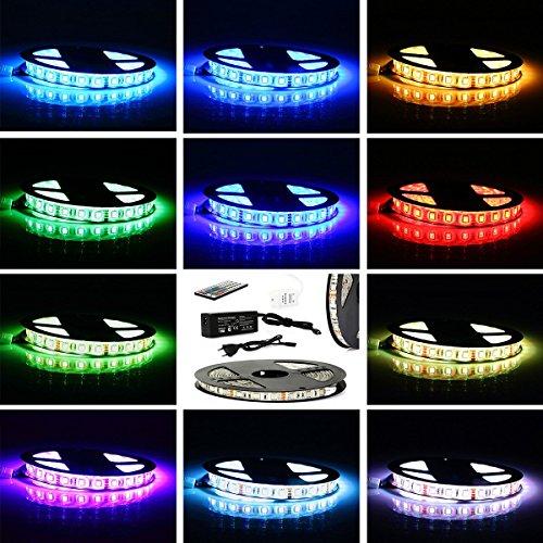 CoastaCloud 5M LED strisce SMD 5050 RGB impermeabile flessibile Alta luminosita' Multi-colori Multi-modelli Con 44keys Telecomando e Connettore e Alimentatore