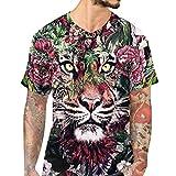 3D Tiger Druck Hemd Herren Slim Kurzarm T-Shirt Lässige Spitzenbluse GreatestPAK,Mehrfarbig,L