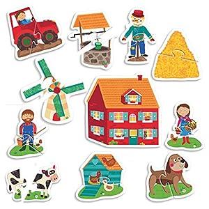 Headu- Montessori Touch 2 Pieces The Farm Puzzle Infantil de Animales de la Granja, Multicolor (IT20874) , color/modelo surtido