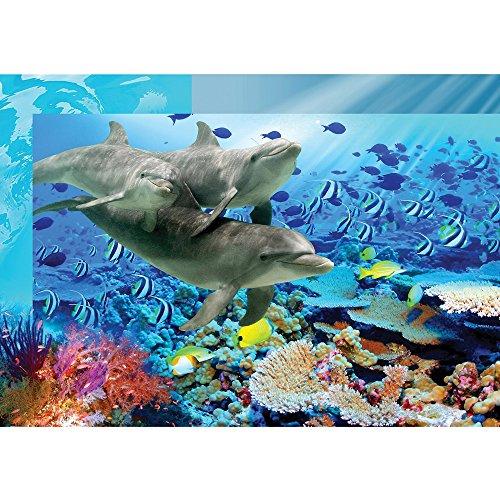 Vlies Fototapete PREMIUM PLUS Wand Foto Tapete Wand Bild Vliestapete - Aqua unter Wasser Delfine Fische Natur Wasserpflanzen - no. 2092, Größe:312x219cm Vlies (Bilder Aqua)