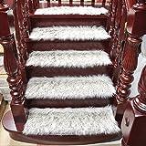 VIOY Staircase Decke plüsch treppenmatte klebstofffreie Rutschfeste fußmatte massivholz Step mat,Weiß,klein