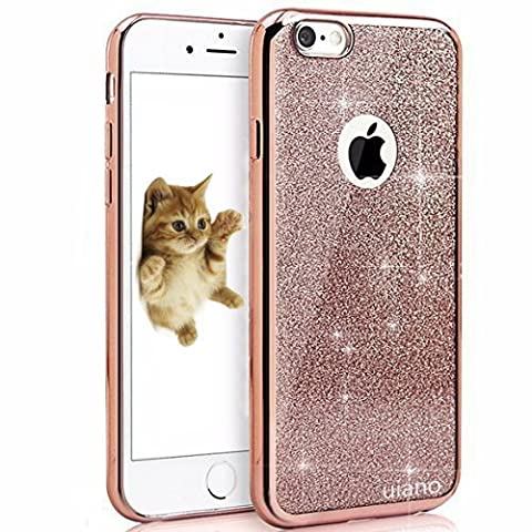 iPhone SE 5 5S Coque, Bling Glitter détachables Ultra-Thin Electroplating Soft Technology Gel Silicone TPU Retour Housse Coque pour iPhone SE iphone 5 5S [Rose
