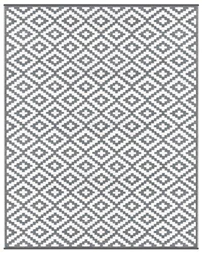 Green Decore Nirvana für Innen und Außen/Federleicht/Wendbarer Ökoteppich (240 x 300 cm, Grau/weiß)