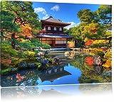 Ginkaku-ji-Tempel in Kyoto, Format: 120x80 auf Leinwand, XXL riesige Bilder fertig gerahmt mit Keilrahmen, Kunstdruck auf Wandbild mit Rahmen, günstiger als Gemälde oder Ölbild, kein Poster oder Plakat