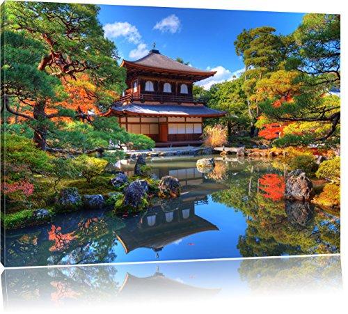 Ginkaku-ji-Tempel in Kyoto, Format: 100x70 auf Leinwand, XXL riesige Bilder fertig gerahmt mit Keilrahmen, Kunstdruck auf Wandbild mit Rahmen, günstiger als Gemälde oder Ölbild, kein Poster oder Plakat