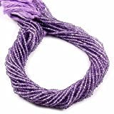 #8: Goyal Impex 1 Strand Natural Light Purple Amethyst Gemstone Rondelle Facet Beads Full Strand 3-3.5mm For Jewelry Making